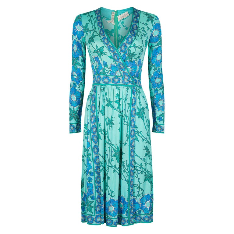 1970s Emilio Pucci Turquoise Printed Silk Jersey Dress With Cross Over Bodice For Sale