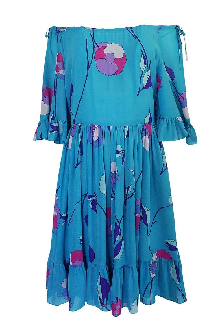 Emilio Pucci Turquoise Silk Chiffon Off Shoulder Dress, 1970s  For Sale 1