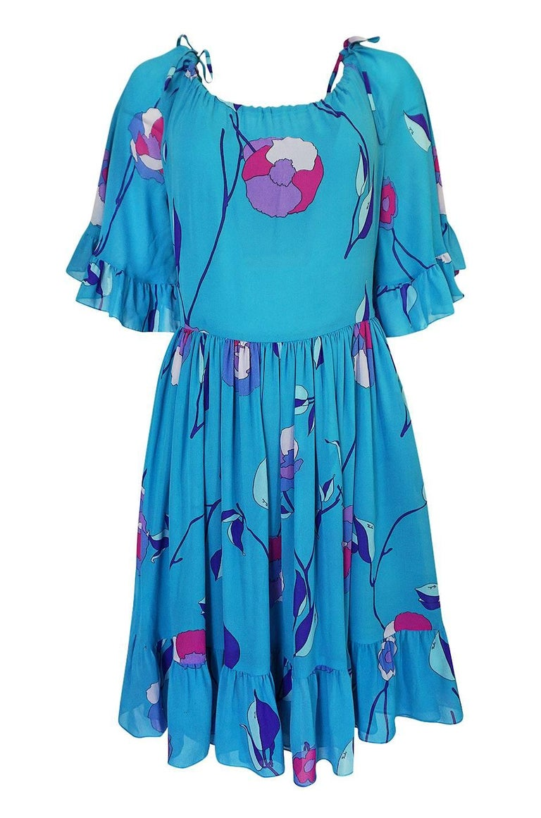 Emilio Pucci Turquoise Silk Chiffon Off Shoulder Dress, 1970s  For Sale 2