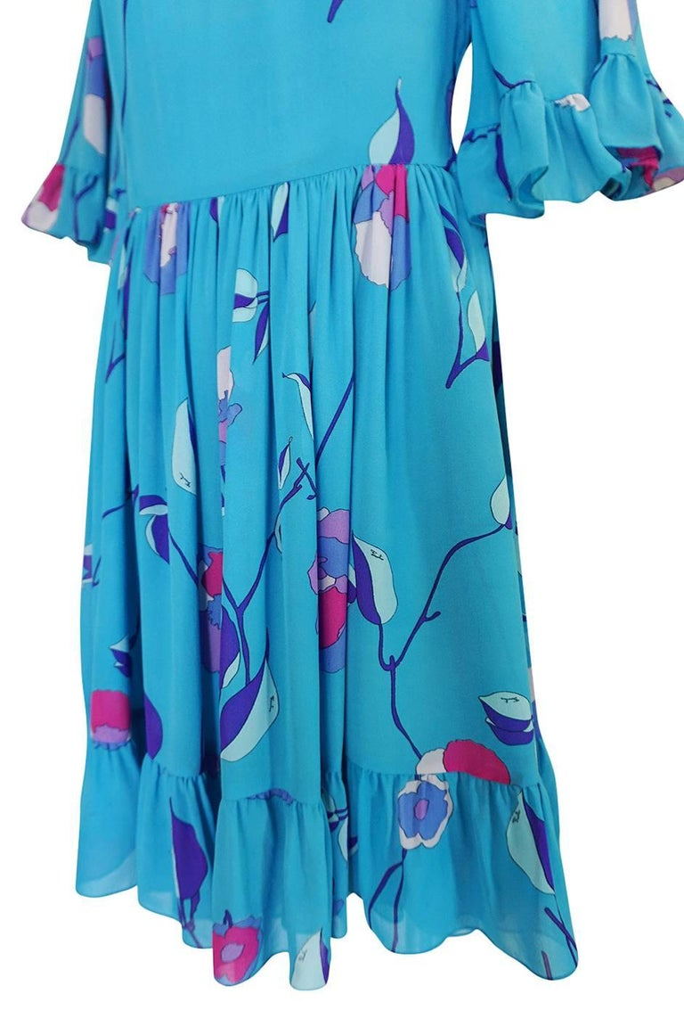Emilio Pucci Turquoise Silk Chiffon Off Shoulder Dress, 1970s  For Sale 4