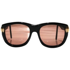 1970s Emmanuelle Khanh oversized orange lens black resin sunglasses