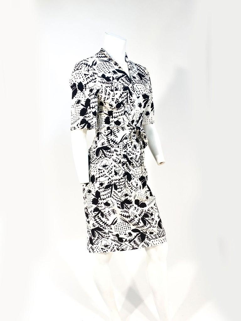 Gray 1970s Emmanuelle Khanh Silk Printed Dress For Sale