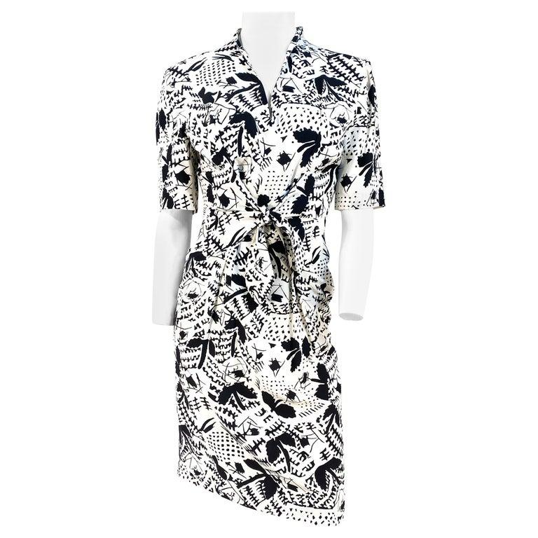 1970s Emmanuelle Khanh Silk Printed Dress For Sale