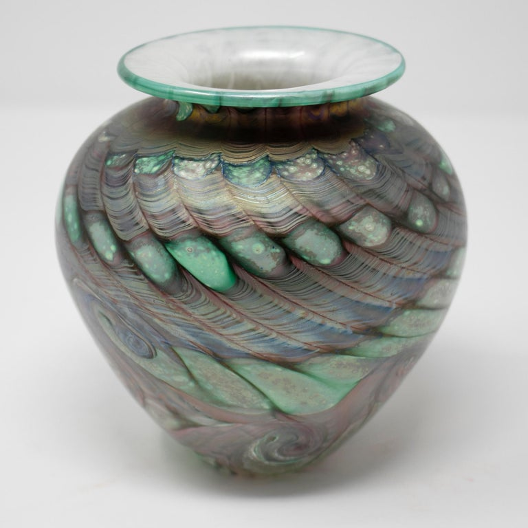 1970s English Isle of Wight Glass Vase For Sale 1