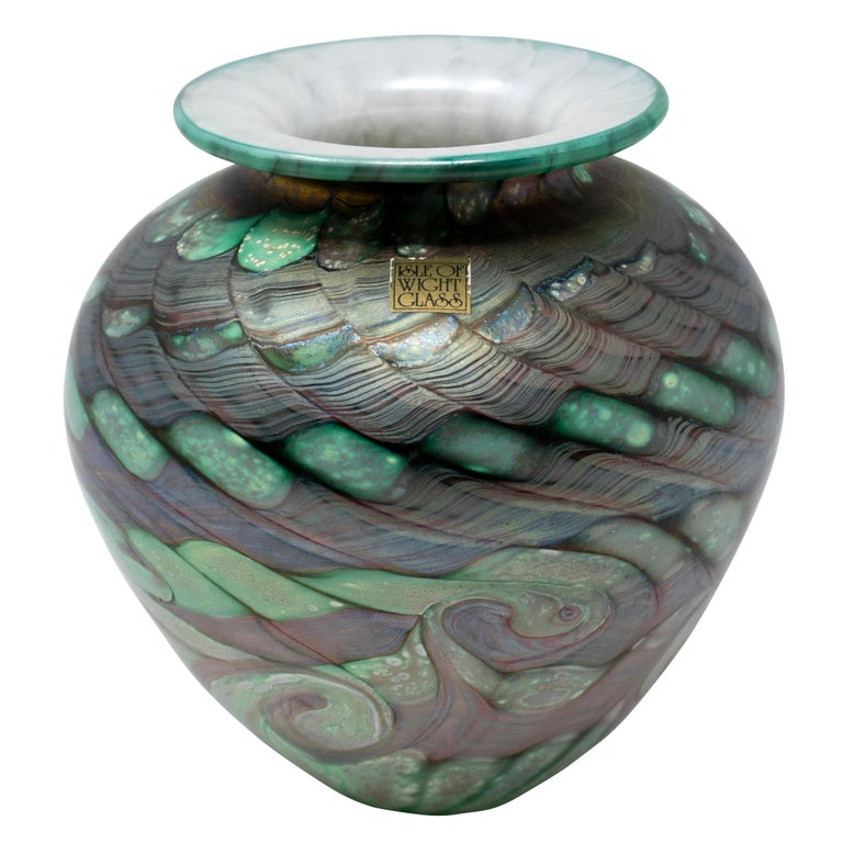 1970s English Isle of Wight Glass Vase For Sale