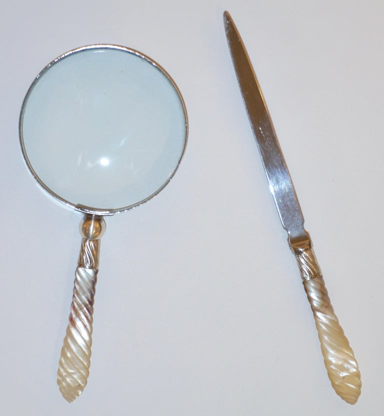 British 1970s English Magnifying Glass and Letter Opener with Mother of Pearl Handles For Sale