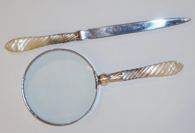 Carved 1970s English Magnifying Glass and Letter Opener with Mother of Pearl Handles For Sale
