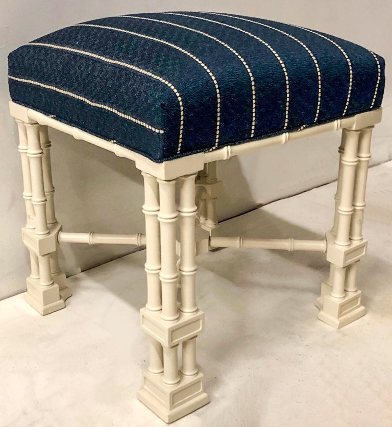 American 1970s Erwin Lambeth Chinese Chippendale Style Ottomans, a Pair For Sale