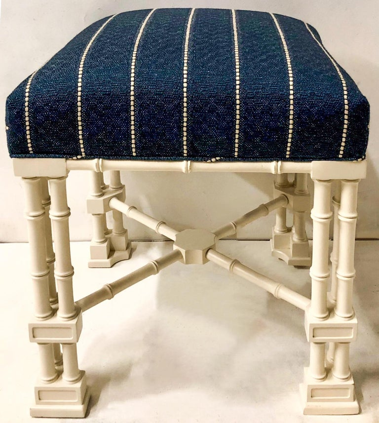 1970s Erwin Lambeth Chinese Chippendale Style Ottomans, a Pair In Good Condition For Sale In Kennesaw, GA