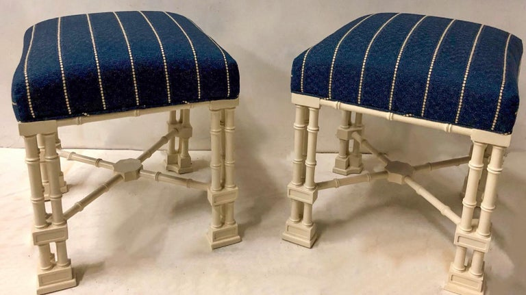 Late 20th Century 1970s Erwin Lambeth Chinese Chippendale Style Ottomans, a Pair For Sale