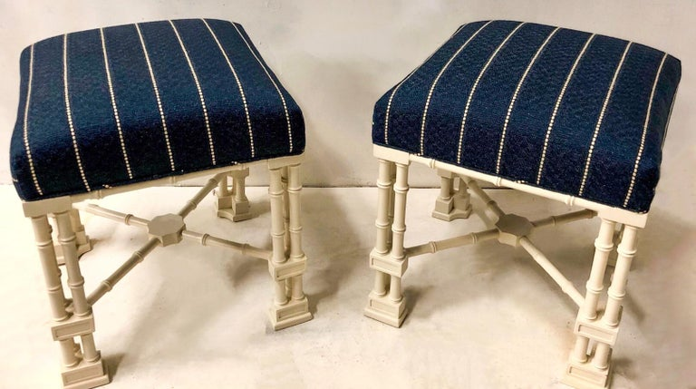 Linen 1970s Erwin Lambeth Chinese Chippendale Style Ottomans, a Pair For Sale