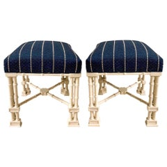 1970s Erwin Lambeth Chinese Chippendale Style Ottomans, a Pair