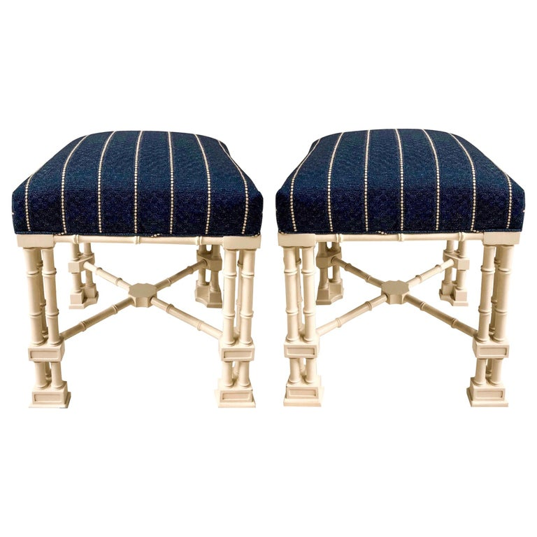 1970s Erwin Lambeth Chinese Chippendale Style Ottomans, a Pair For Sale