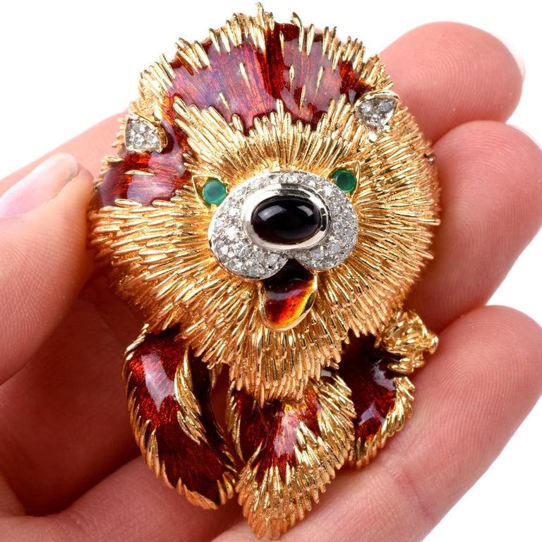 Modern 1960s Italian  Happy Dog Diamond Gold Enamel Brooch Pin For Sale