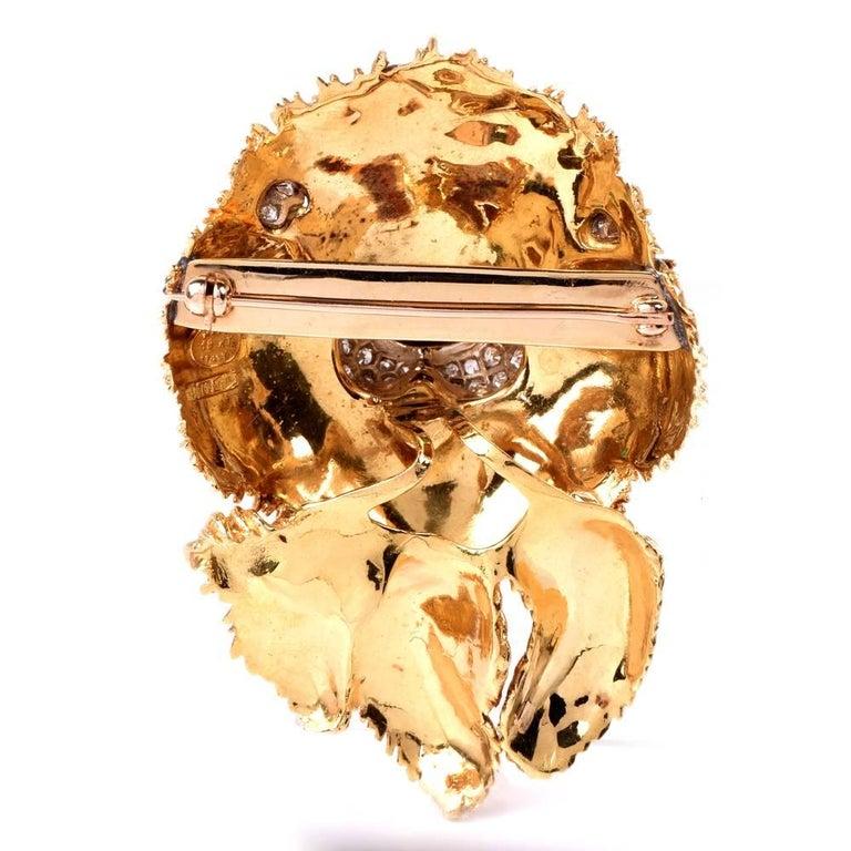 Women's 1960s Italian  Happy Dog Diamond Gold Enamel Brooch Pin For Sale