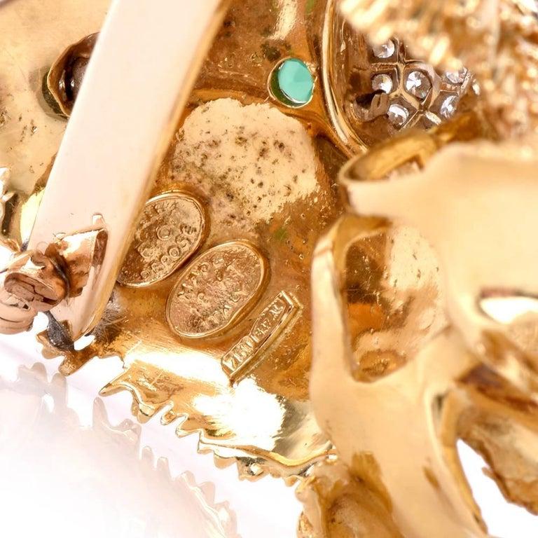 1960s Italian  Happy Dog Diamond Gold Enamel Brooch Pin For Sale 1