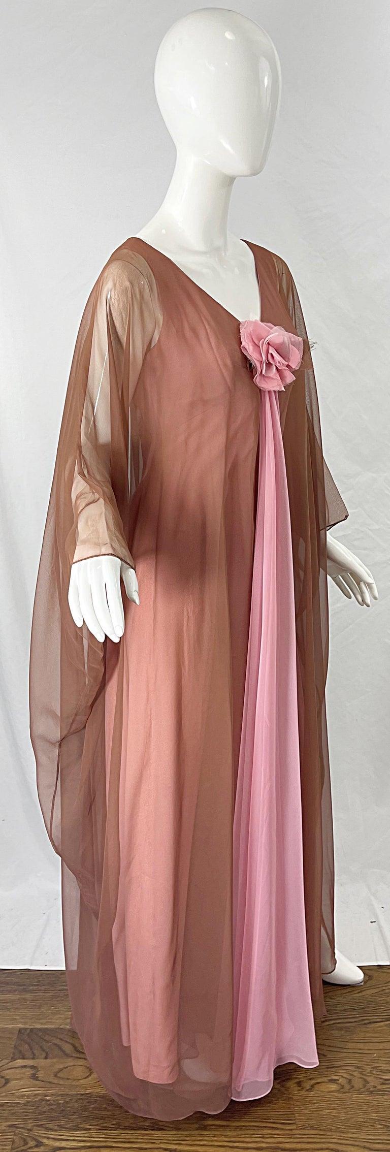 1970s Estevez Pink + Nude Brown Chiffon Caftan Vintage 70s Kaftan Maxi Dress For Sale 6