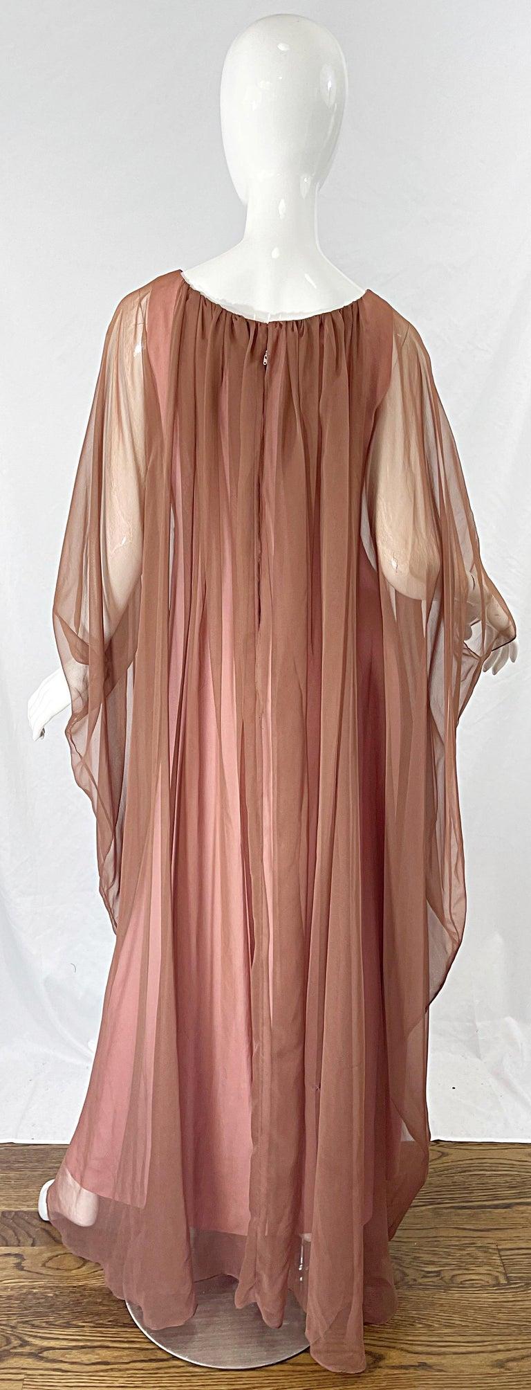 1970s Estevez Pink + Nude Brown Chiffon Caftan Vintage 70s Kaftan Maxi Dress For Sale 7
