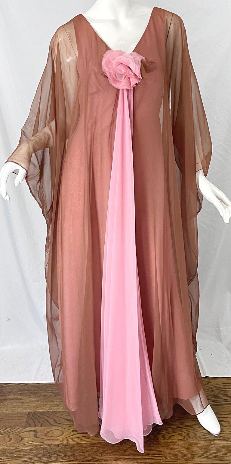 1970s Estevez Pink + Nude Brown Chiffon Caftan Vintage 70s Kaftan Maxi Dress For Sale 8