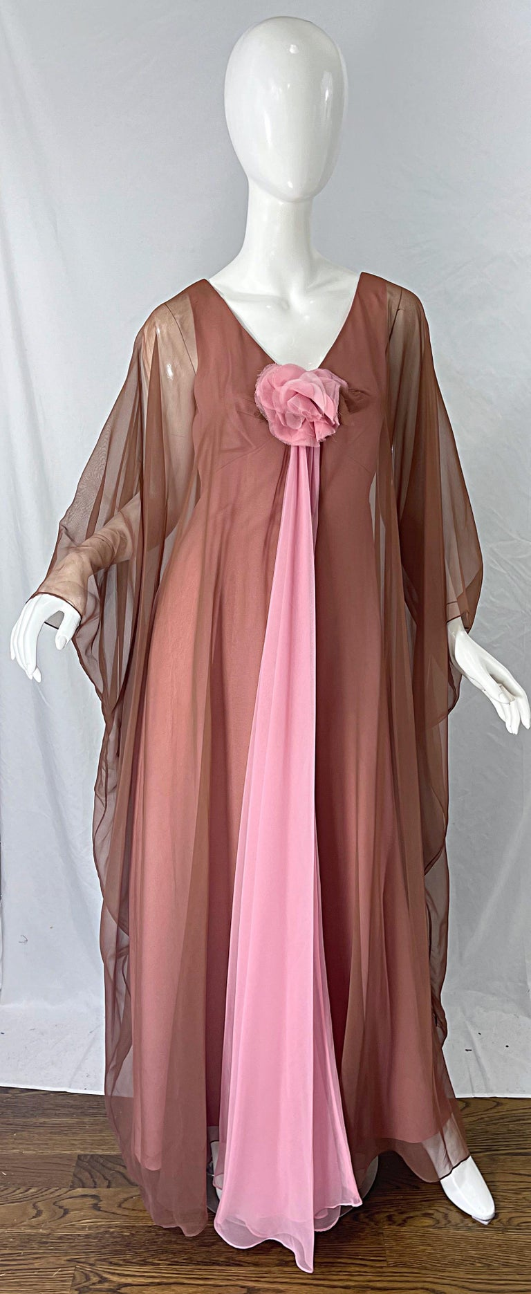 1970s ESTEVEZ bubblegum pink and nude brown chiffon caftan maxi dress ! Flower applique at center bust. Full metal zipper up the back with hook-and-eye closure. Great for any day or evening event. In great condition. Very well made, with lots of