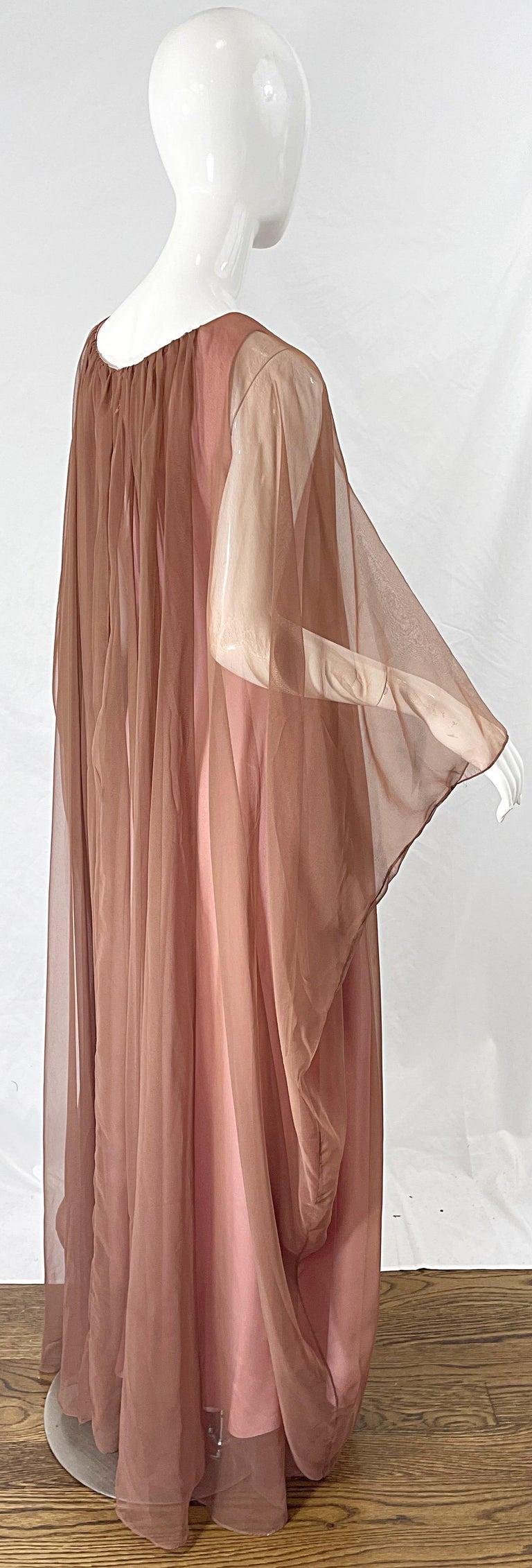 Women's 1970s Estevez Pink + Nude Brown Chiffon Caftan Vintage 70s Kaftan Maxi Dress For Sale