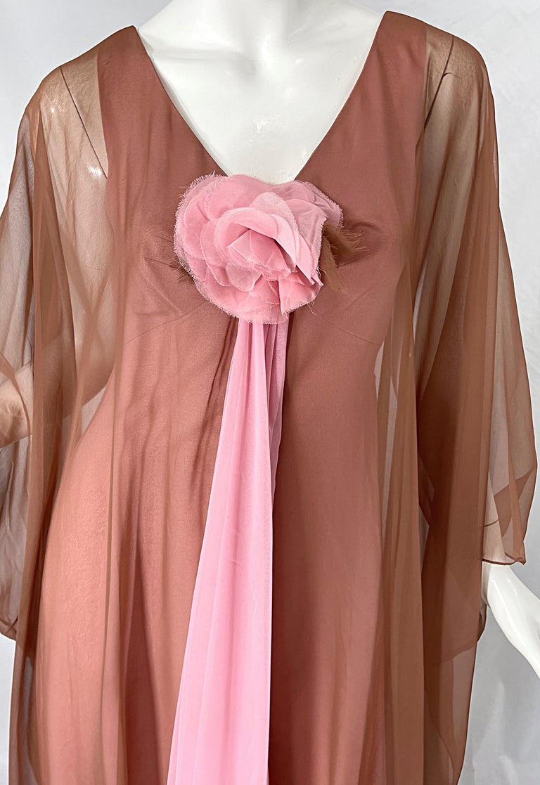 1970s Estevez Pink + Nude Brown Chiffon Caftan Vintage 70s Kaftan Maxi Dress For Sale 1