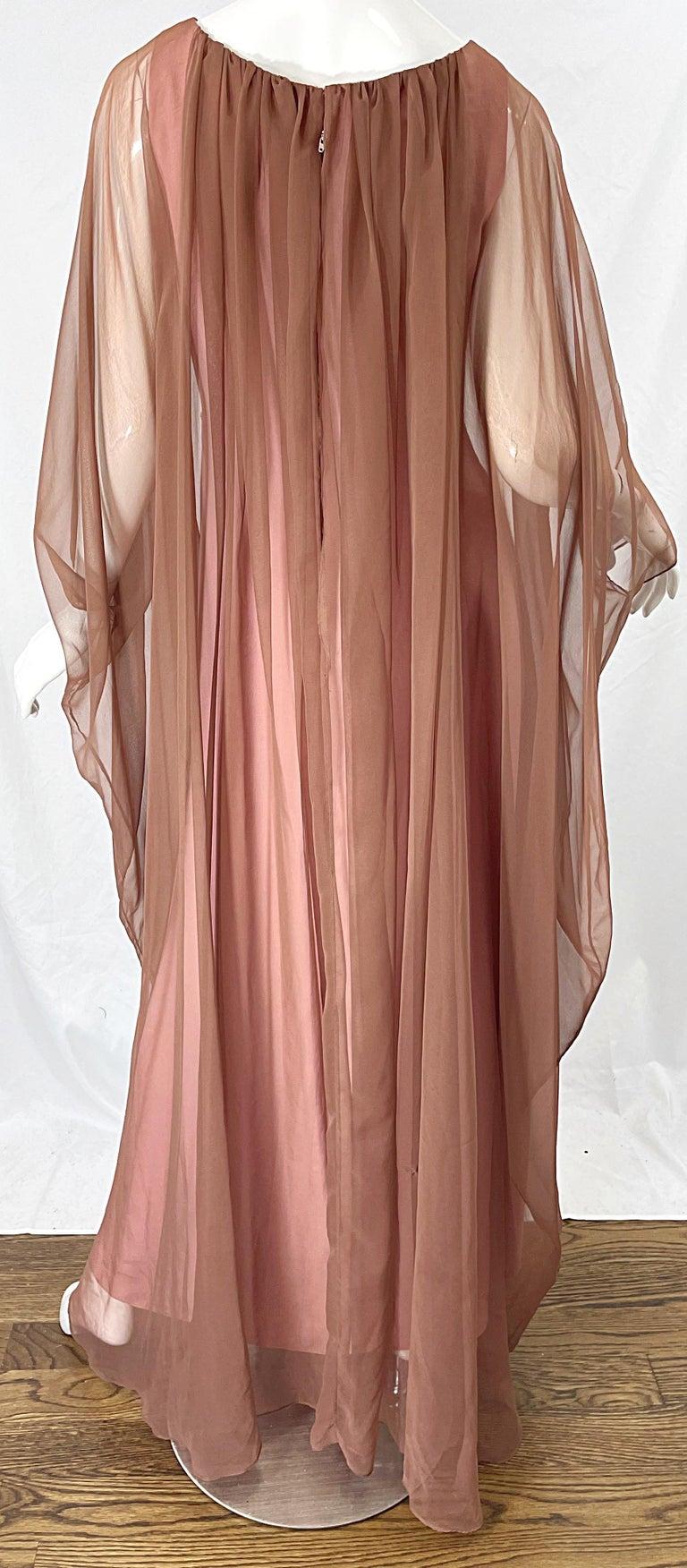 1970s Estevez Pink + Nude Brown Chiffon Caftan Vintage 70s Kaftan Maxi Dress For Sale 2