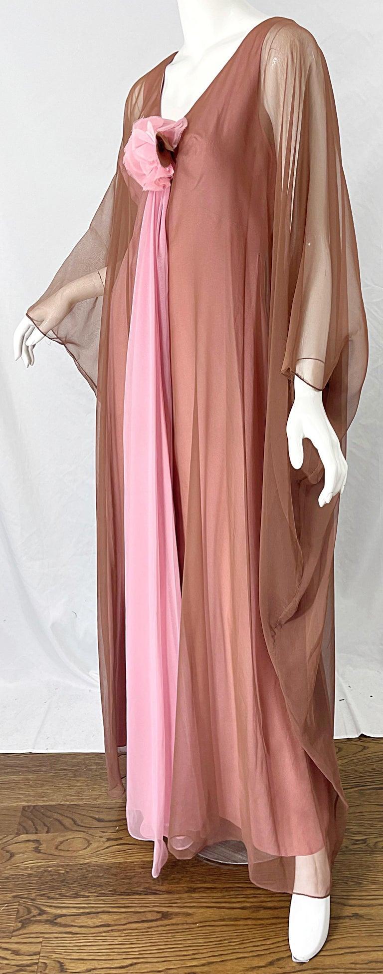 1970s Estevez Pink + Nude Brown Chiffon Caftan Vintage 70s Kaftan Maxi Dress For Sale 3