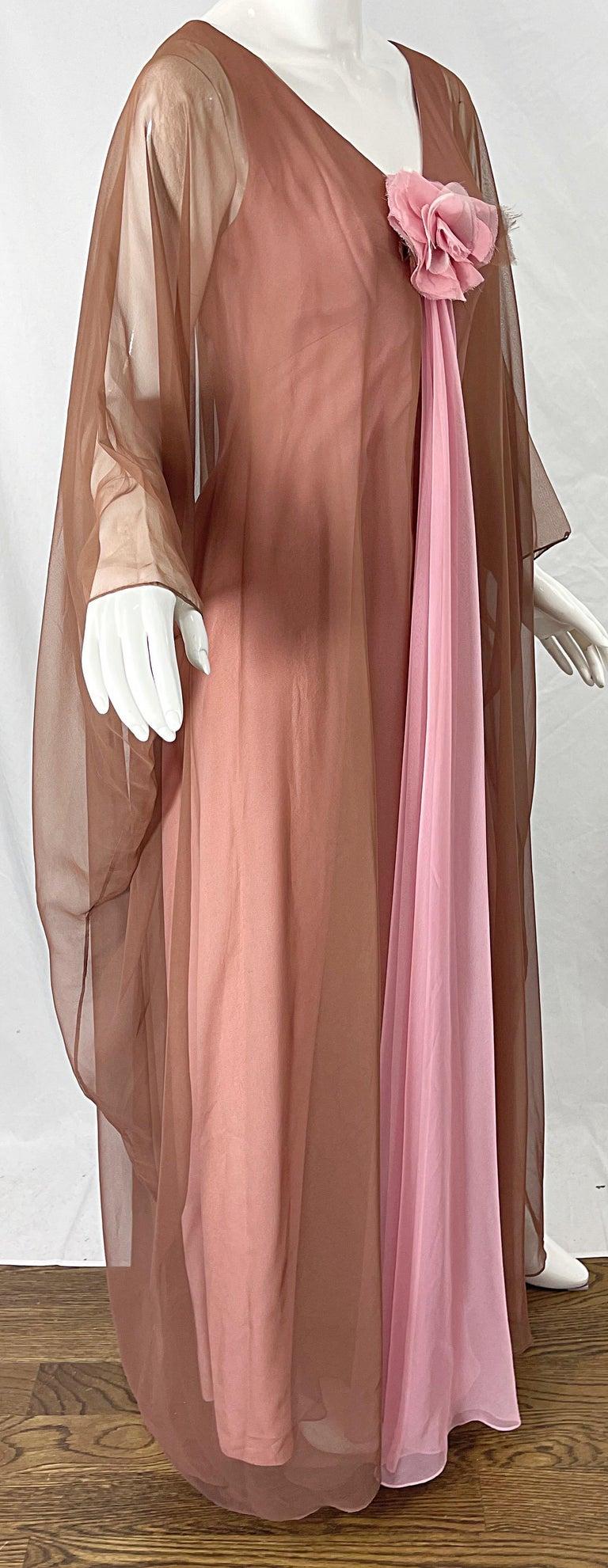 1970s Estevez Pink + Nude Brown Chiffon Caftan Vintage 70s Kaftan Maxi Dress For Sale 4
