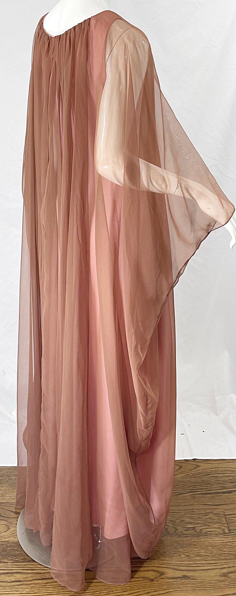 1970s Estevez Pink + Nude Brown Chiffon Caftan Vintage 70s Kaftan Maxi Dress For Sale 5