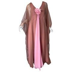 1970s Estevez Pink + Nude Brown Chiffon Caftan Vintage 70s Kaftan Maxi Dress