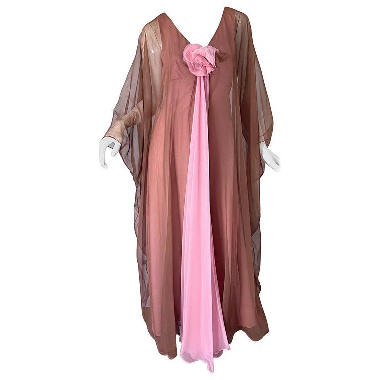 1970s Estevez Pink + Nude Brown Chiffon Caftan Vintage 70s Kaftan Maxi Dress For Sale