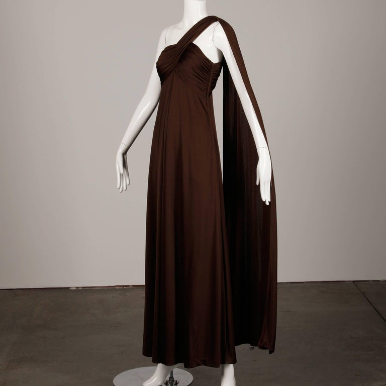 Black 1970s Estevez Vintage Brown Slinky Jersey Knit One Shoulder Maxi Dress / Gown  For Sale