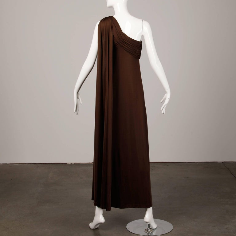 1970s Estevez Vintage Brown Slinky Jersey Knit One Shoulder Maxi Dress / Gown  In Excellent Condition For Sale In Sparks, NV