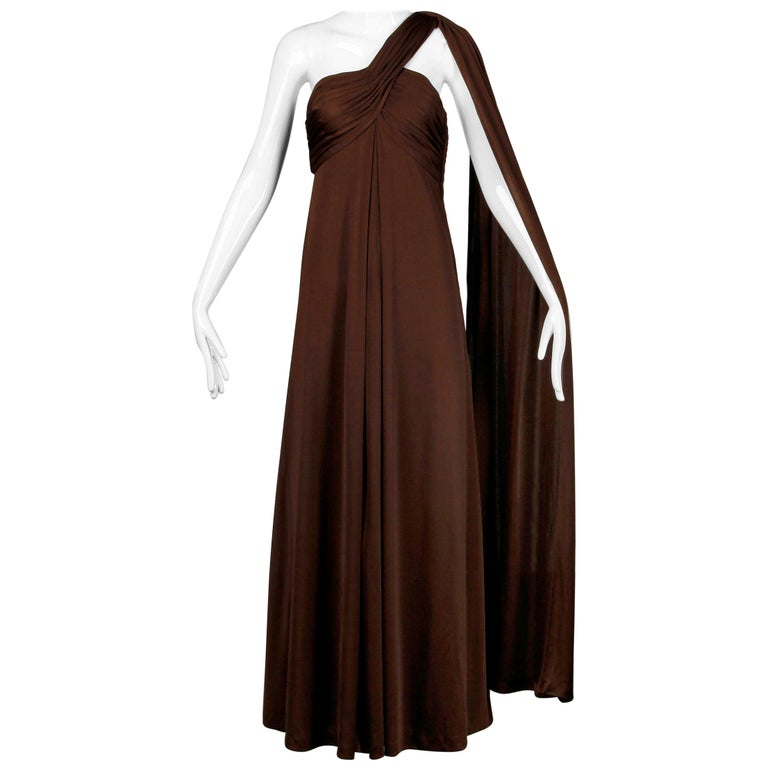 1970s Estevez Vintage Brown Slinky Jersey Knit One Shoulder Maxi Dress / Gown  For Sale