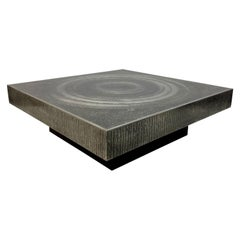1970s Etched Aluminium Coffee Table