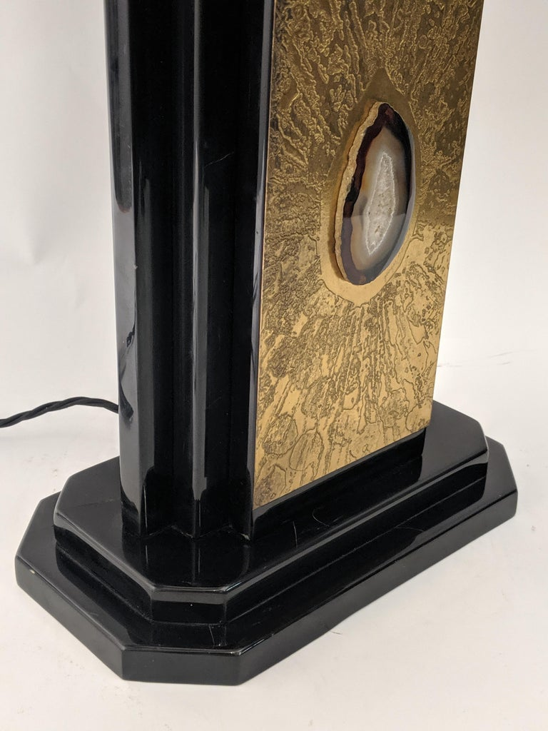Belgian 1970s Etched Bronze Lamp with Applied Agate by George Mathias, Belgium For Sale