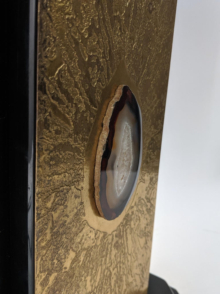 1970s Etched Bronze Lamp with Applied Agate by George Mathias, Belgium For Sale 1