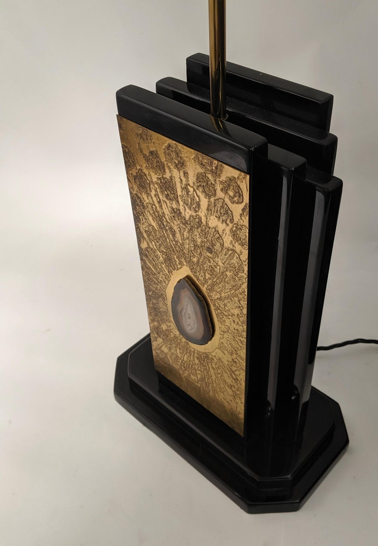 1970s Etched Bronze Lamp with Applied Agate by George Mathias, Belgium For Sale 3