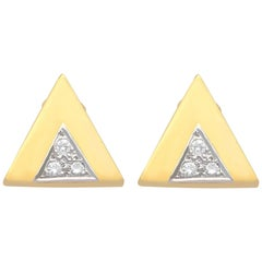 1970s European Diamond and Yellow Gold Stud Earrings