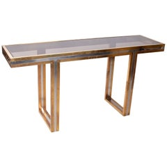 1970s European Willy Rizzo Two-Tone Brass Console Table with Glass Top