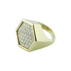 1970s Exagon Diamond 18 Karat Yellow Gold Ring