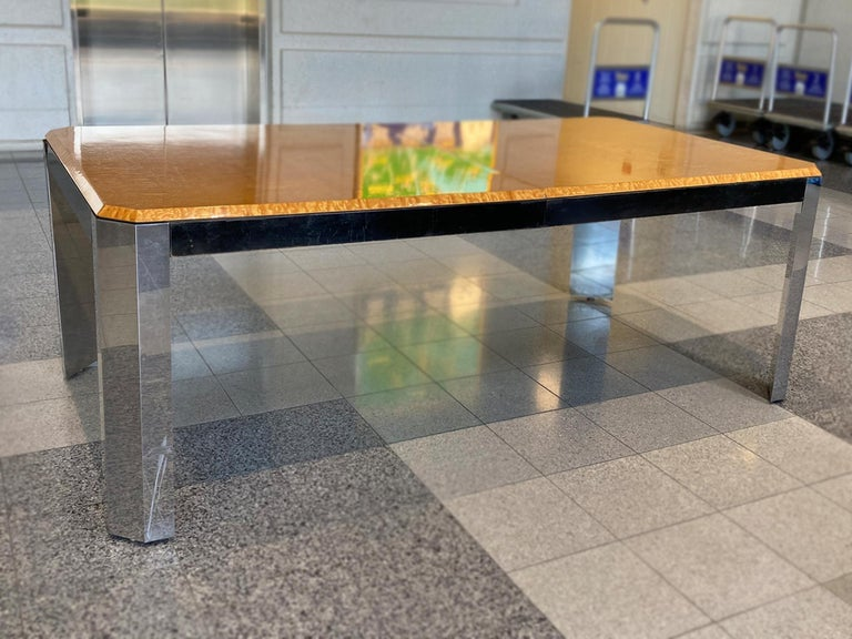 1970s Extendable Dining Table Attributed to Milo Baughman In Fair Condition For Sale In New York, NY