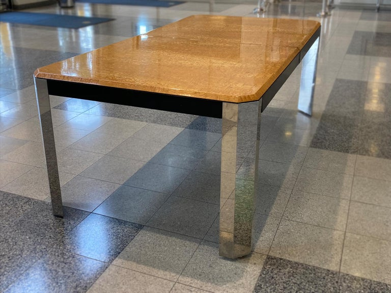 Late 20th Century 1970s Extendable Dining Table Attributed to Milo Baughman For Sale