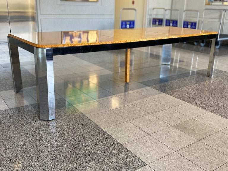 Chrome 1970s Extendable Dining Table in the style of Milo Baughman For Sale