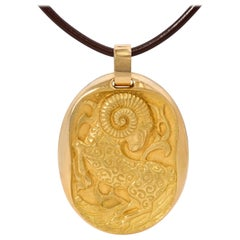 1970s Extra Large Cartier Gold Aries Zodiac Pendant