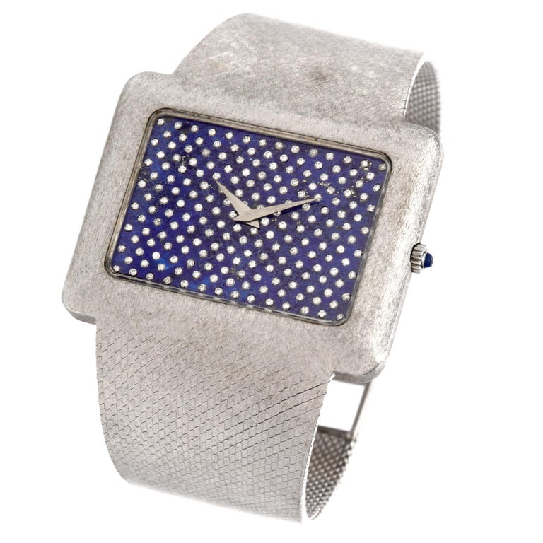 Round Cut 1970s Extra Large Corum Diamond Lapis Chrome Watch For Sale