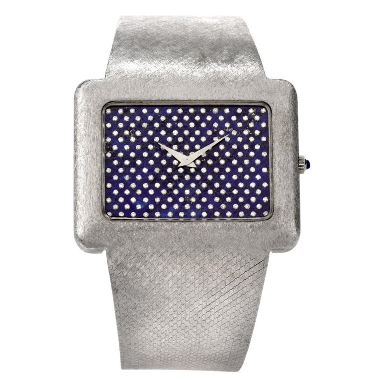 1970s Extra Large Corum Diamond Lapis Chrome Watch In Excellent Condition For Sale In Miami, FL