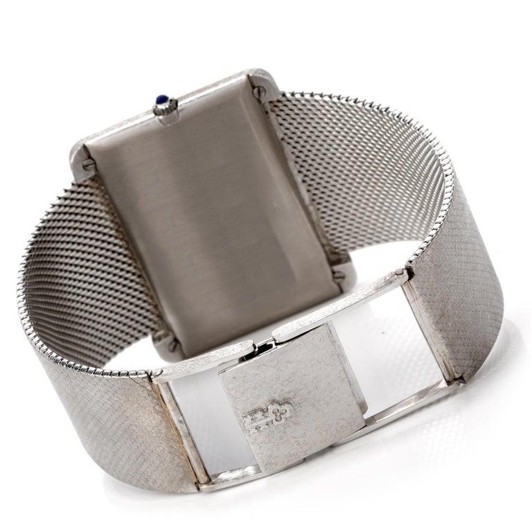 Women's or Men's 1970s Extra Large Corum Diamond Lapis Chrome Watch For Sale