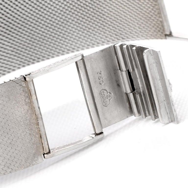 1970s Extra Large Corum Diamond Lapis Chrome Watch For Sale 1